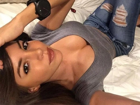 Relaxing at home sexy selfie on bed