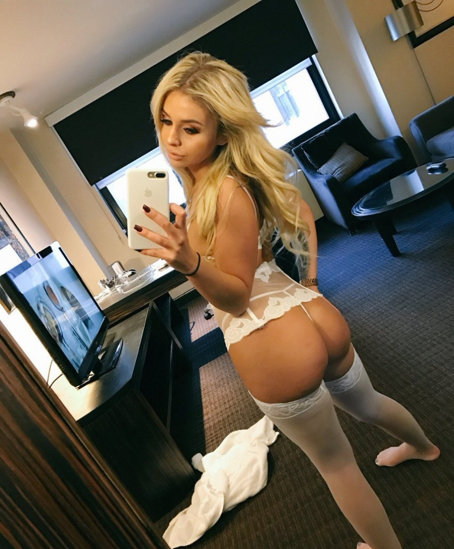 Juicy ass in white lingerie