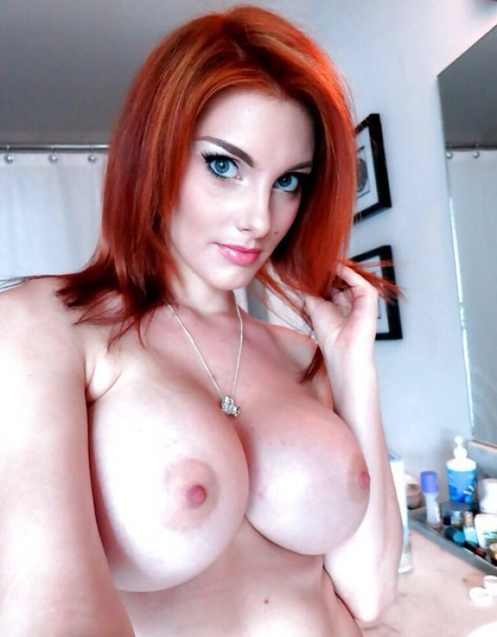 Redhead with big tits gets fucked hard and creampied by bf